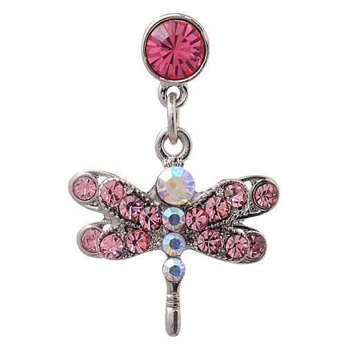 Headphone Plug Dragonfly Charm For Apple Iphones, Ipad, Ipod Touch, Pink Rhinestones