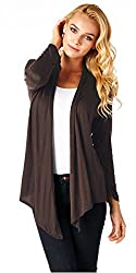 Popana Super-Soft Open Front Drape Cardigan - XL Brown Made In USA