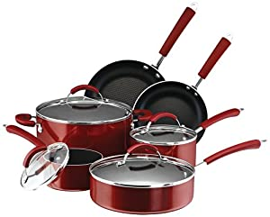 Farberware Millennium Colors 12-Piece Non-Stick Cookware Set, Red