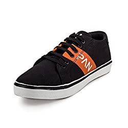 PAN Mens G09 BLACK Fabric Casual Shoe-7 UK