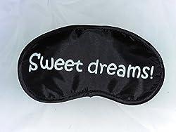 HealthMax (TM) Eye Mask with cooling Eye gel pack inside with 'Sweet dreams' print Black