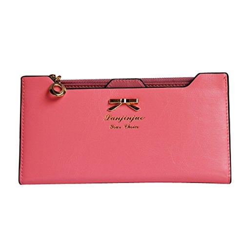 Museya Dolce Bowknot metallo Decor Womens ragazze PU morbido con zip Multi Card portafoglio lungo borsa cellulare borsa frizione borsa porta (rosa)