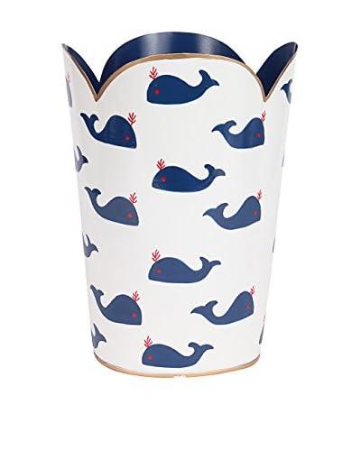 Malabar Bay Whales Navy Tulip Wastebasket, Blue