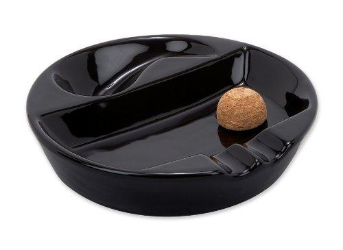 Old Road Tobacco Pipe & Cigar Black Ceramic Ashtray with Pipe Stand & Cork Knocker