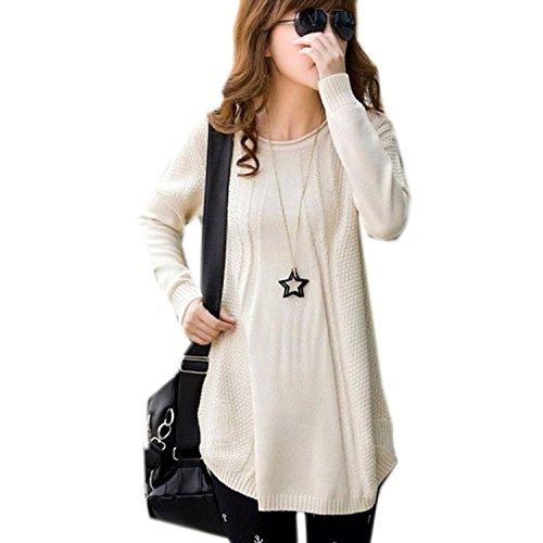 Minetom Maglietta Manica Lunga Pullover Shirt Blouse Top Knit Maglione Oversize - Donna ( Beige )