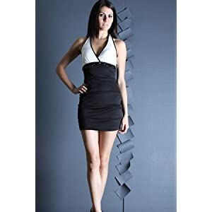 COLOR BLOCK HALTER DRESS WITH A JEWELED ACCENT | Fashion Junkie | White | L