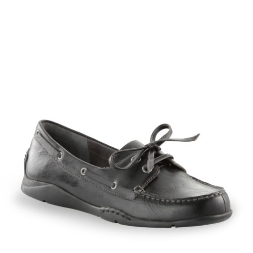 Aerosoles Women's Volocity Boat Shoe,Black Leather,9.5 M US