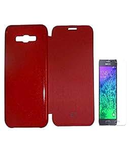 JMA Flip Cover Screen Guard For Samsung Galaxy E7 E700 - Red