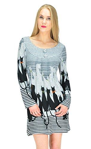 Goldkidlondon -  Vestito  - Tunica - Maniche lunghe  - Donna grigio Medium