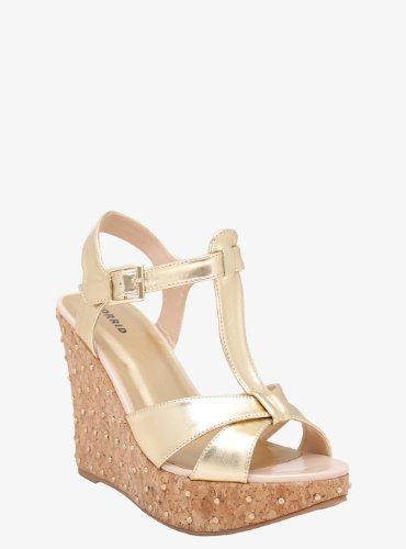 Studded Metallic Wedge Sandals (Wide Width) front-498576