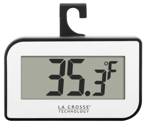 La Crosse Technology 314-152-W Digital Refrigerator or Freezer Thermometer with Hook (Refrigerator Thermometer Plastic compare prices)