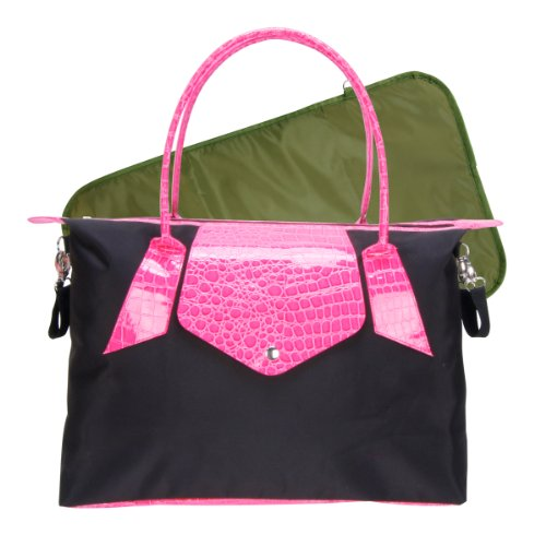 Trend Lab Rendezvous Tote Style Diaper Bag, Black and Magenta Pink