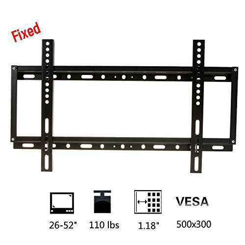 "Fixed Cold Rolled Plate Black Tv Mount Bracket For Most 26-52"" Inch Lcd Led Tv With Vesa Up To 500X300 Exquisite Design"