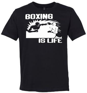Phunky Buddha - Boxing Is Life Men's Slogan T-Shirt - S - Black