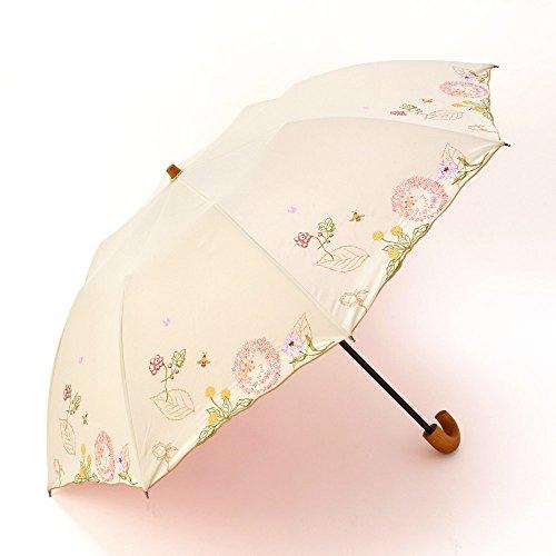 完全遮光・遮熱ボタニカルモードかわず張りショート日傘 (ベージュ)