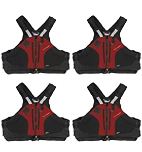 4 COLEMAN Stearns PVC-Free Red Aqueous Extreme Paddle Vest Life Jackets | Large by Stearns