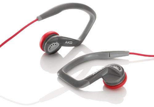 AKG K326 RED Cuffie Auricolari con Uncino e Microfono per iPhone/iPad, Rosso/Grigio