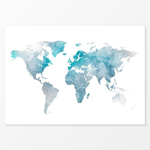 watercolor decor blue world map wall art size 5x7 8x10. Black Bedroom Furniture Sets. Home Design Ideas