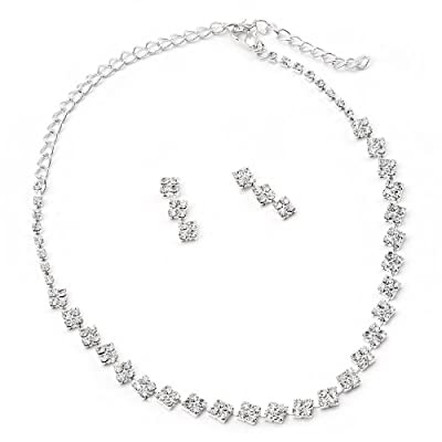 Silver Crystal Square Shaped Dangle Earrings & Square Shaped Necklace Jewelry Set