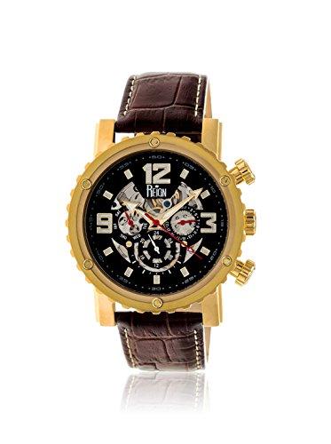 Reign Men's REIRN1904 Alpin Gold-Tone/Black Leather Watch