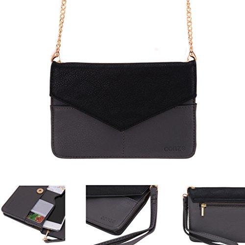 Conze da donna portafoglio tutto borsa con spallacci per Smart Phone per Maxwest Gravity 5.5LTE grigio Grey
