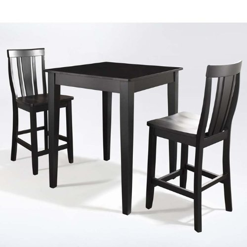 Crosley 3-Piece Counter Height Dining Set with Tapered Leg and Shield Back Stools