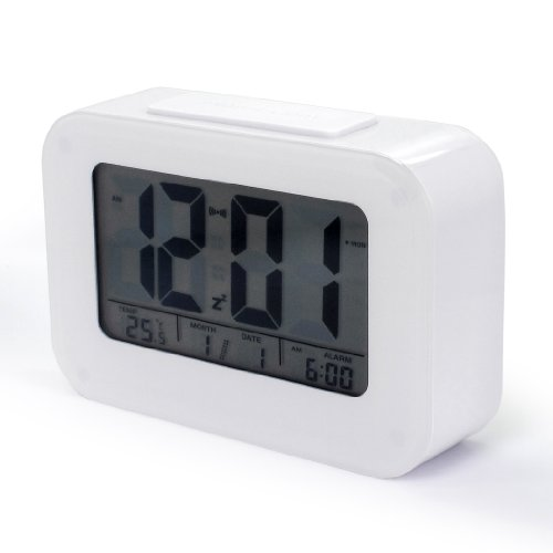 Jcc Lcd Smart Light Activated Sensor Bedside Digital Snooze Alarm Clock With Date And Temperature Display Batteries / Usb / Dc Powered (White) front-752989