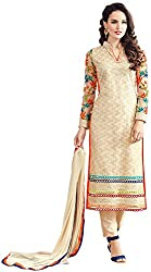 Awesome Women's Net Unstitched Dress Material (Beige)