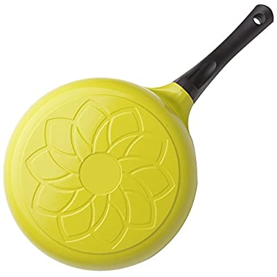 "Cook N Home Nonstick Ceramic Coating Die Cast Deep Saute Stir Fry Pan Wok Pan with Lid, 3 quart/9.5"", Green"