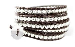 Dakota Sparkling Silver Bead on Genuine Leather Extra Long 5x Wrap Bracelet in Gift Box