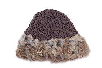 GP Accessories Women's Wide Rim Rabbit Fur Hand Knitted Beanie Hat Medium Gray