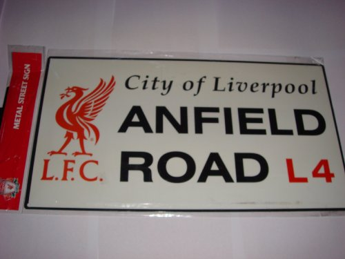OFFICIAL LIVERPOOL LARGE METAL ANFIELD ROAD STREET SIGN 10″x18.5″
