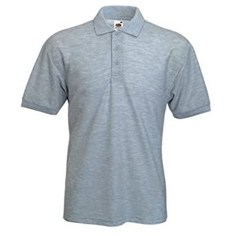 """FRUIT OF THE LOOM 65/35 PIQUE POLO SHIRT (SMALL - 36/38"""", HEATHER GREY)"""