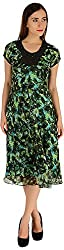 Holidae Women's Tropical Print Dress (HI-DR-MX-026-Green_M, Green, M)