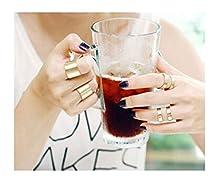 buy Blank K 3Pcs Fashion Finger Stack Knuckle Midi Ring Set For Women (Golden)