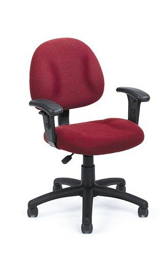 Burgundy Fabric Office Task Chair with Built-In Lumbar Support
