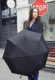 Black Solid Color Umbrella Three Folding Classic Anti-Uv Sun/Rain Durable Automatic Umbrell