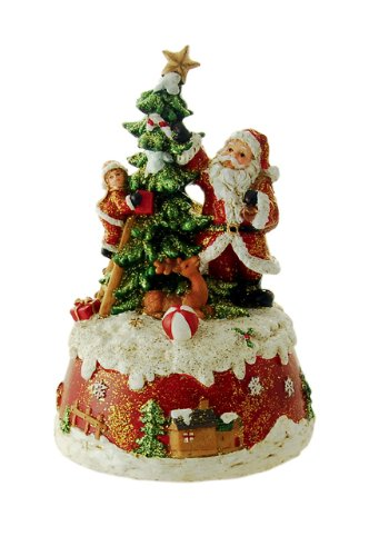 MusicBox Kingdom 53101 Santa Decorating Christmas Tree Music Box, Plays The Melody