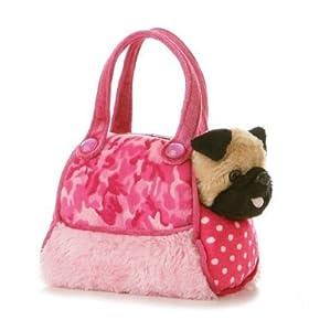 """Aurora Plush 8"""" Fancy Pals Fancy Pink Camo Pet Carrier: Toys & Games"""