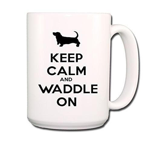 Basset Hound Keep Calm and Waddle On Coffee Tea Mug 15 oz