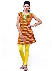 Charu Boutique Pure Cotton Printed Orange Kurti