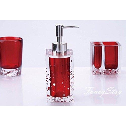 Buy it now merryfun red bright resin 5pcs bathroom wash for Bright bathroom sets