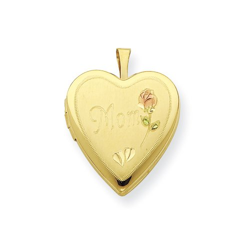 Gold Plated Sterling Silver 20mm Enameled & D/C Mom Locket