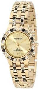 Armitron Women's 75/3782CHGP Black Swarovski Crystal Accented Gold-Tone Bracelet Watch