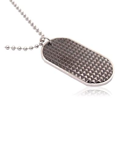 Blackjack Jewelry Collana Textured Dog Tag Pendant With 24 Bead Chain