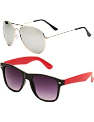 SHEOMY COMBO OF STYLISH GOLDEN SILVER MERCURY AVIATOR AND BLACK RED WAYFARER SUNGLASSES WITH 2 BOX - Free Delivery