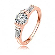 buy Beydodo Platinum-Plated Rings (Wedding Bands) For Women Round Us Size 9 Rose Gold