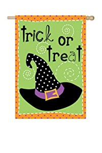 """Trick or Treat"" Witch Hat Decorative Halloween Garden Flag 18"" x 12.5"""