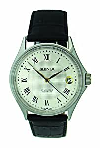 Bernex Swiss Made Gents Stainless Steel, Silver Dial Mechanical Wrist Watch leather strap