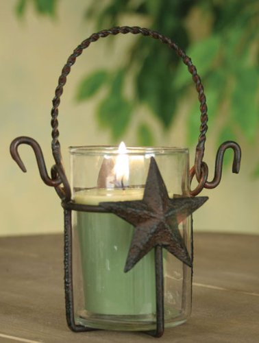 Primitive Rustic Star Metal with Glass Votive Candle Holder